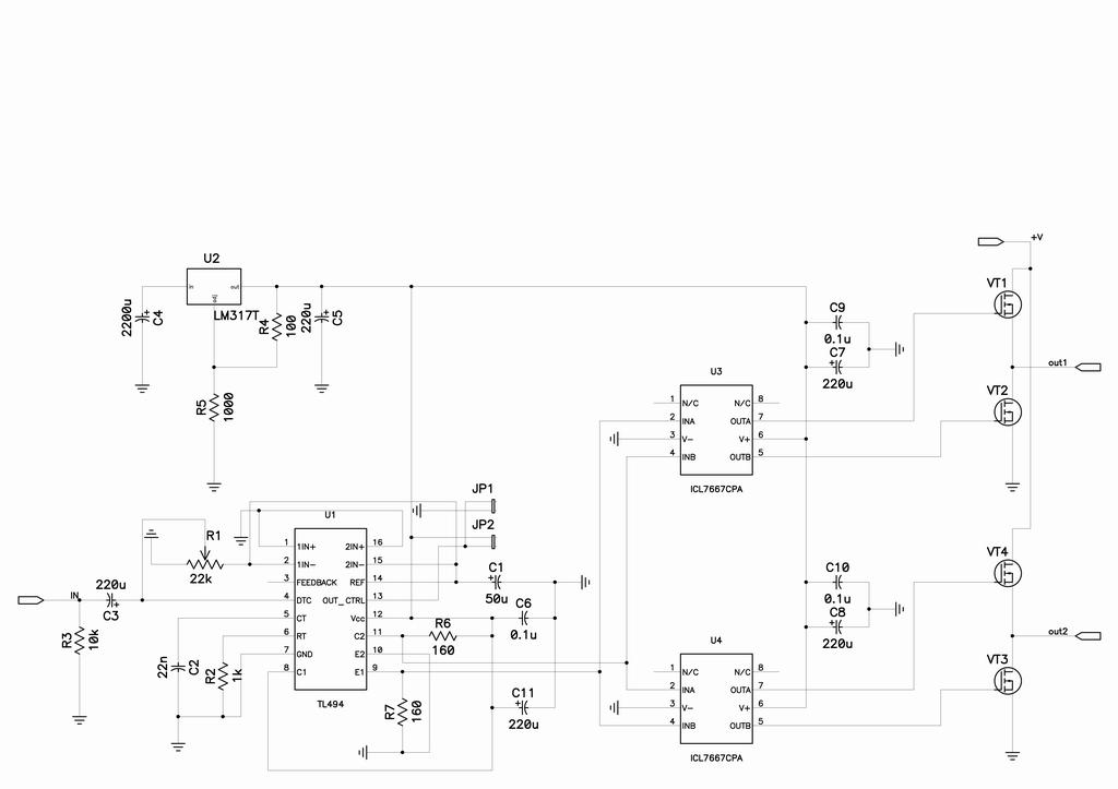 Вся логическая схема с TL494,